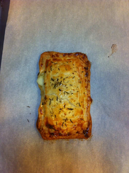 The turkey-provolone-artichoke pesto pocket pie. I sprinkled some dried thyme on top. However, next time, I will remember the less-is-more rule as it applies to dried herbs (they go a long way!).