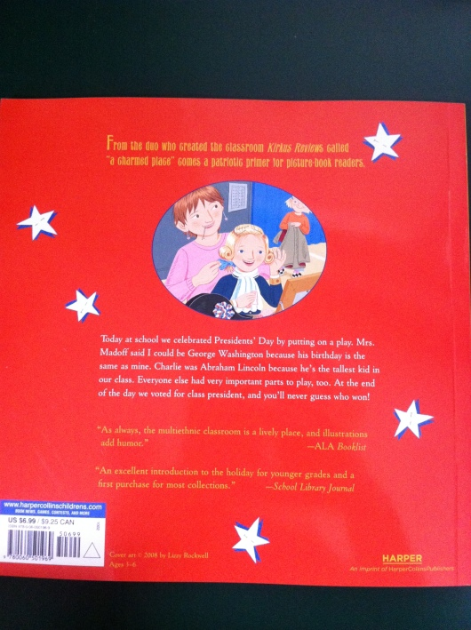 "Back Cover for ""Presidents' day"" - Rockwell and Rockwell (author and illustrator)."