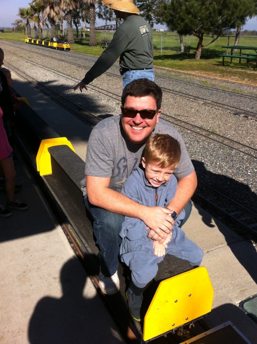 Happy train-riding boys aboard the MF&GHJRR, operated thanks to the wonderful volunteers of the OC Model Engineers at Fairview Park.