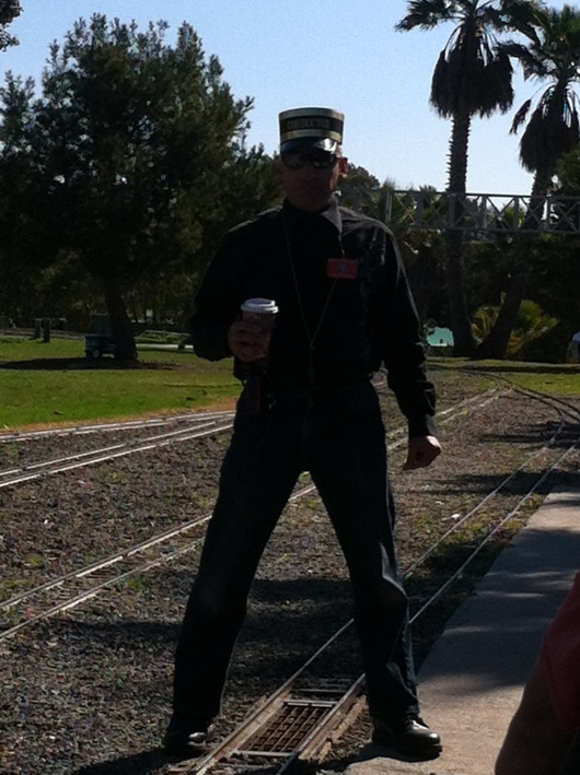 I want YOU to book your next birthday with OC Model Engineers! Kidding, but I loved this photo of the engineer with his coffee in hand, ready to chug-chug.