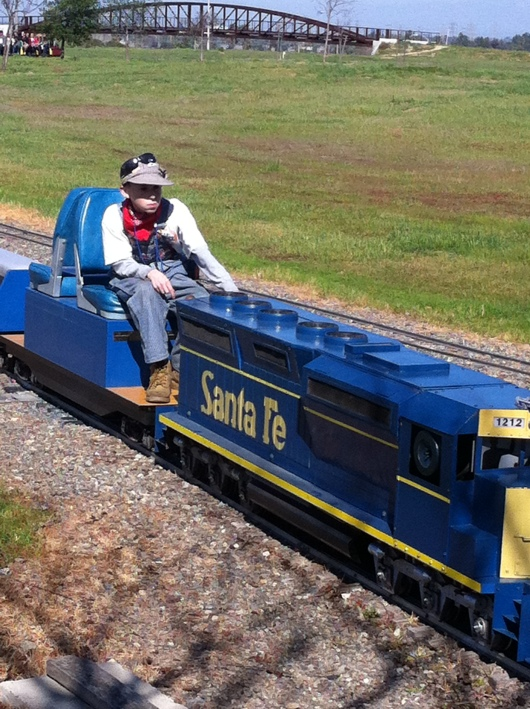 A young club member moves a train from the yard into station during last month's OC Model Engineers' public run. This club is truly for all ages and something the entire family could enjoy together.