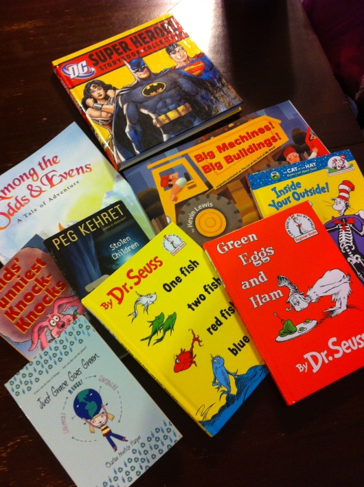 Our book haul for the book drive. Yes, all of this for around $30!