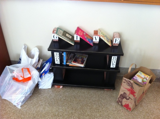 The earlier days of this year's used book drive at T's school.