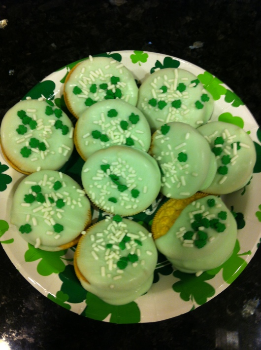 A batch of St. Patrick's Day Trader Joe's Jo-Jos Vanilla Sandwich Cookies.