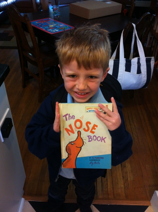 T's contribution to the Dr. Seuss lending library in his classroom for Read Across America: The Nose Book.