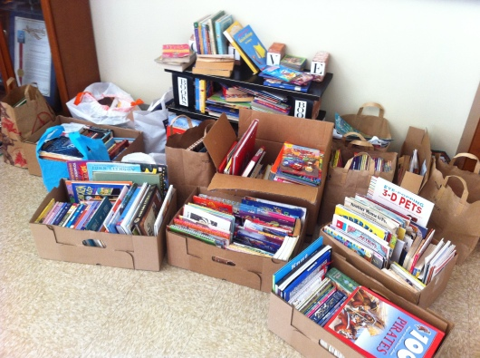 Lots and lots of books! This was as of yesterday morning. Oh, the places so many kids will go now that they'll have all of these books!