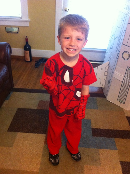 T as Spider-Man for Dress-Like-a-Literary-Character Day at school. Yeah, not so literature-based, but given the TK-age, the teacher gave a loose guideline of any book characters being OK, including comic book characters. No masks, props, or face paint allowed either.