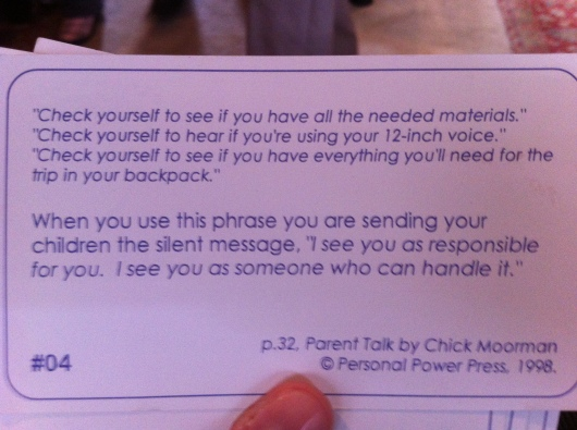 "What ""check yourself"" really means. (Cards from Parent Talk's Chick Moorman.)"