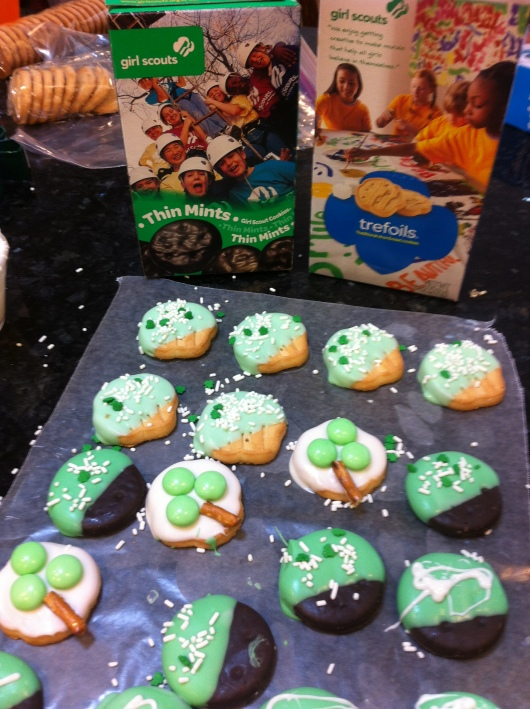 A shot of my St. Patrick's Day treats with a shout-out to the Girl Scout Cookies that made some of it possible.
