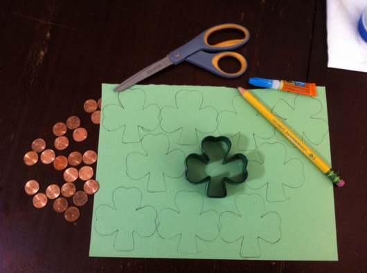 "Most of the supplies needed to make ""Lucky Pennies."""