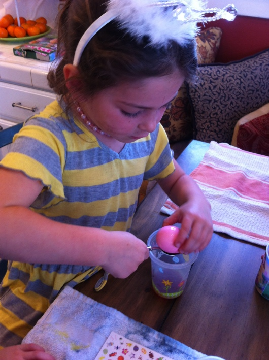 Dyeing eggs is fun, but requires great concentration.