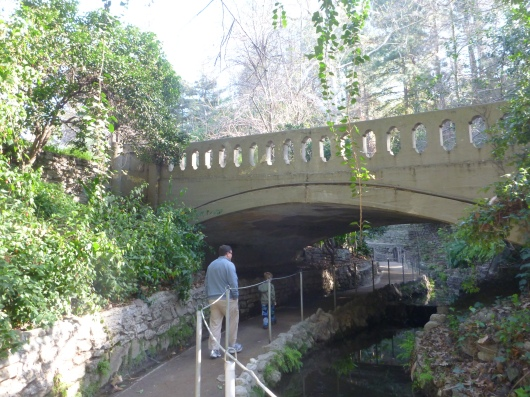 The boys heading under the viaduct that crosses over Ferndell in Griffith Park. Notice the very slight upgrade to the path here.
