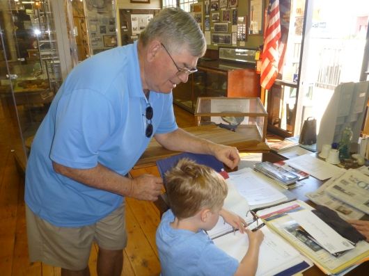 JoePa and T sign the guest book at The Hemet Museum during our first visit.