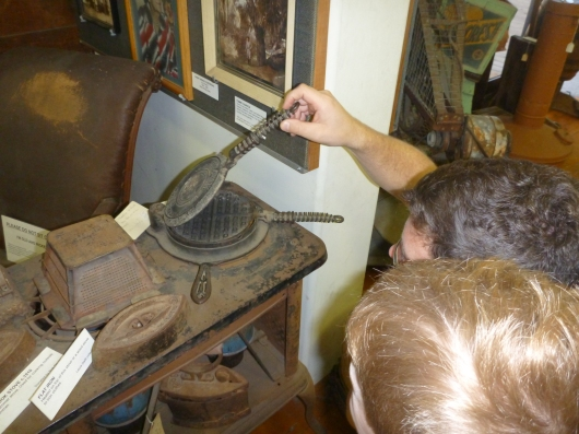 C and T look at an old waffle iron on an old stove at the Hemet Museum. Those boys love their waffles!