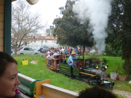 The Southern California Live Steamers chug-chug along the first Sunday and third Saturday of each month for free public runs. These are miniature steam engine-powered ride-on model trains (not diesels).