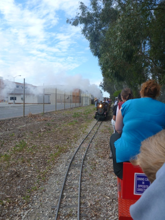 A photo of an approaching train while aboard one of Southern California's Live Steamer trains at Wilson Park in Torrance, CA.