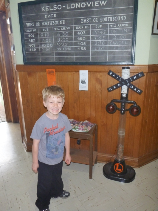 Hey, T used to have a bank just like this in his room! This one is used here for spare change donations to the Lomita Railroad Museum.