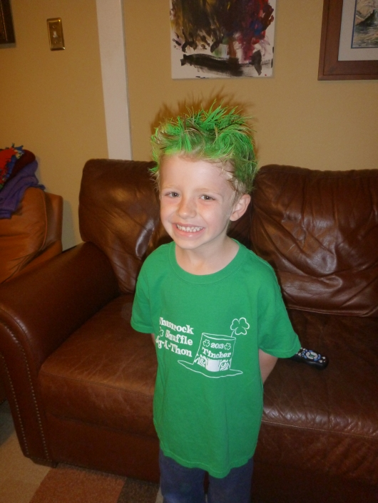 T and his crazy hair are both ready for jog-a-thon!
