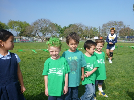 T and his friends get ready to take off for their jog-a-thon.