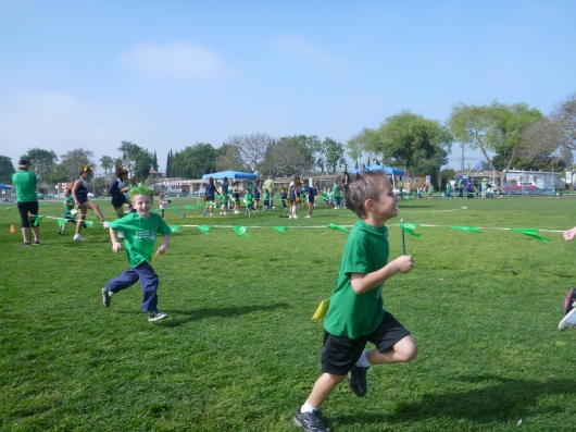 T coming around on the first lap during his first jog-a-thon!