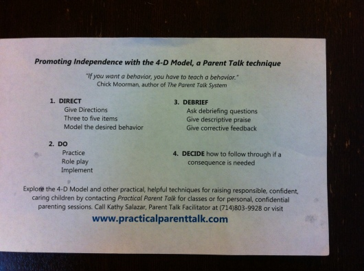 Parent Talk's 4-D Model. Kathy Salazar teaches parents how to teach their own kids.