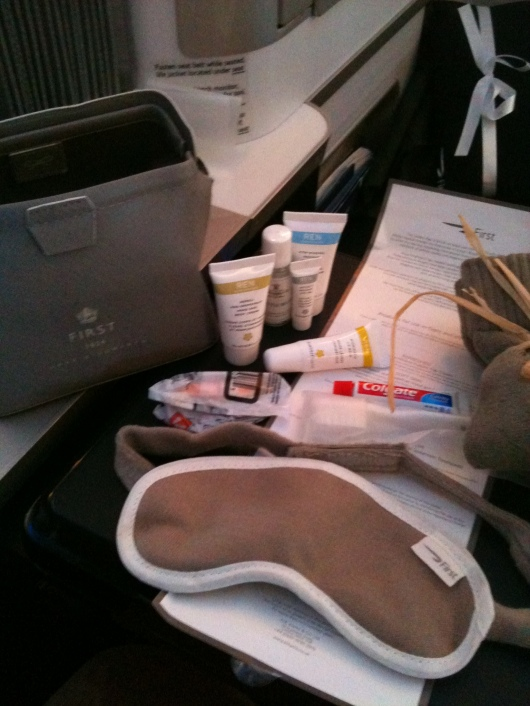 The complete toiletries kit aboard BA First comes inside of a bag designed by Anya Hindmarch.