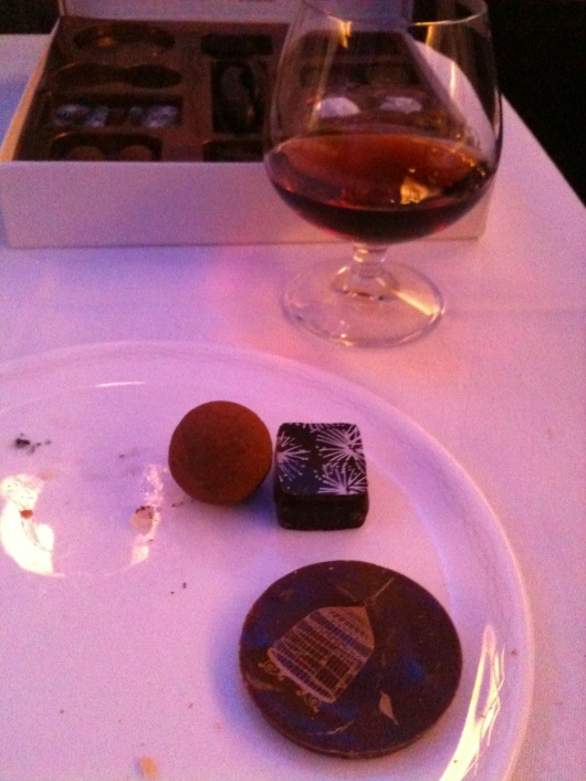 My chocolate selections... see, I have SOME self-control! Having a glass of 20-year-old Port to swig while enjoying a few chocolates helps also.