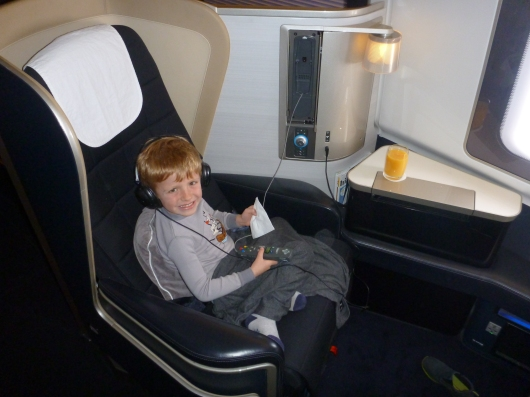 T enjoying all the same perks that any passenger would in BA's First cabin. OK, maybe not the complimentary Johnny Walker Blue, but he hardly was left out of the experience.