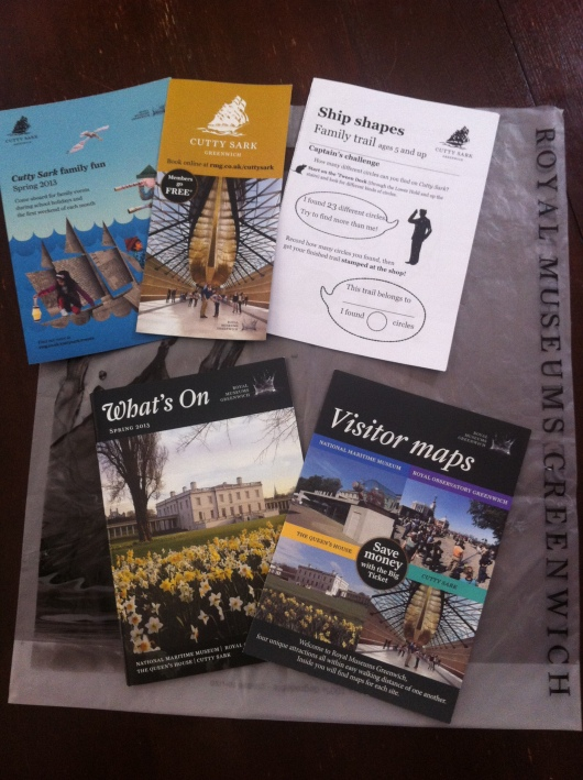 A few of the brochures we got during our day out in Greenwich, including a few kid-centric handouts from Cutty Sark. T was too busy seeing everything for the first time to really focus and participate on them, but they were great free activities included with admission.
