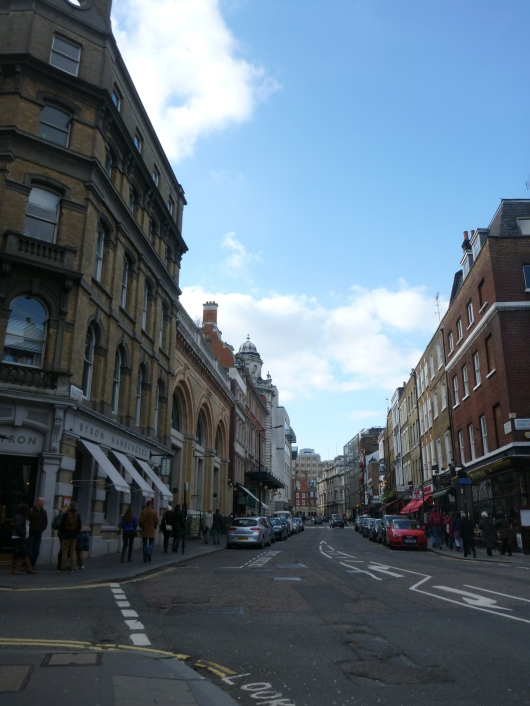 Typical winding street in the Covent Garden neighborhood of London.
