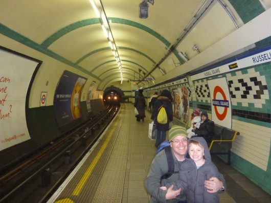 "Just one of several photos of C and T in London's Underground, AKA ""The Tube."" This subway system turns 150 years old this year!"