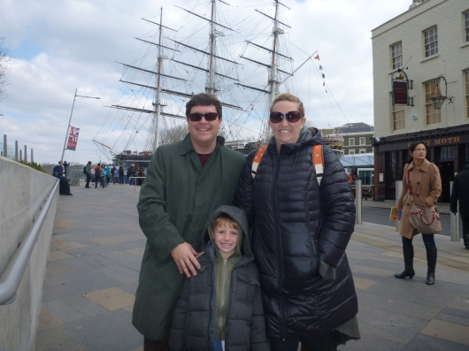 The three of us in front of the Cutty Sark, an original clipper ship from the mid-1800s. It's now docked in Greenwich (UK) and open to the public as a museum.