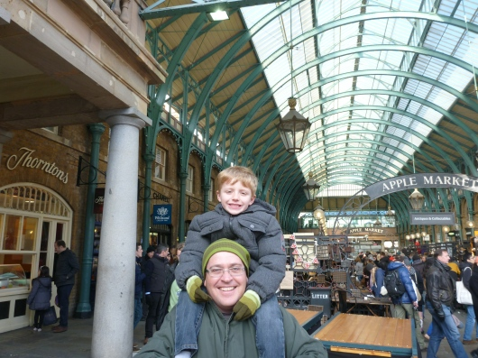 Happy boys settling into our hood-away-from-home, Covent Garden.