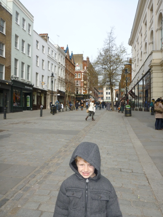 T on the streets of Covent Garden during a much quieter Sunday morning.