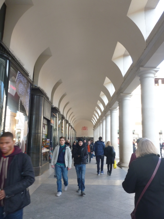 One of the covered walks along the Covent Garden Piazza.