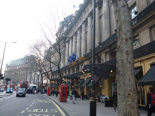 A view of The Waldorf Hilton marquee looking West on Aldwych in London's Covent Garden.