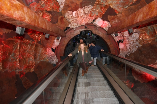 "Me on the ""Visions of Earth"" escalator at London's Natural History Museum."