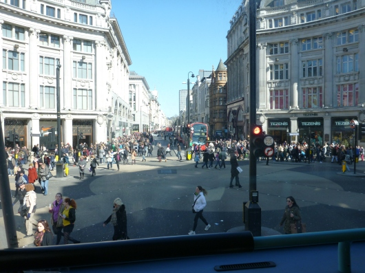 A view of Oxford Circus from atop one of London's double-decker buses. It was a gorgeous day even if chilly, so many were out above-ground and walking.