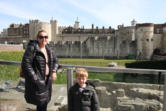 T and I in front of the Tower of London.