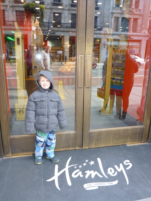 T in front of Hamleys. They were not open when we got there on Sunday morning. Whoops.