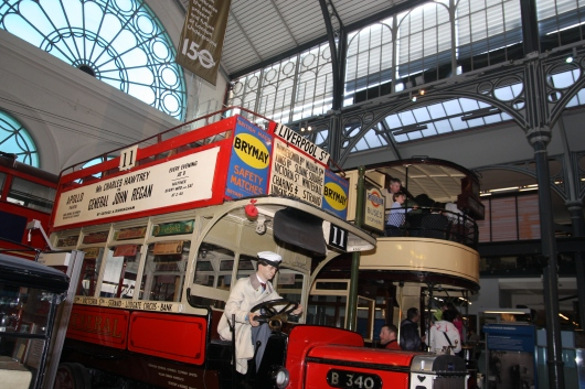 Just a few of the double-decker buses on display and waiting for riders at the London Transport Museum.