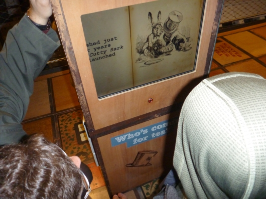 One of the interactive kid activity kiosks aboard Cutty Sark's tween deck.