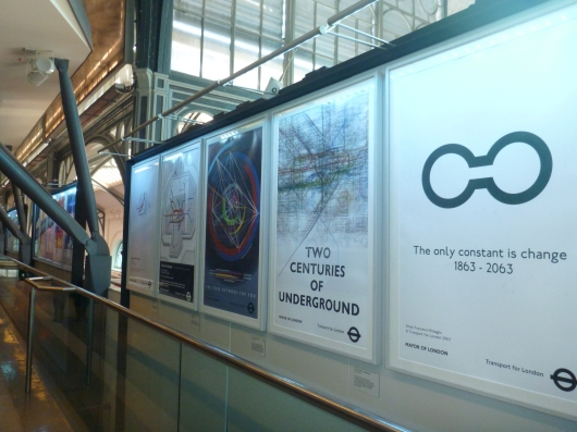 One exhibit at the London Transport Museum was a poster installation showing what advertisements for the Underground might look like in another 50 years from now, or in 2063 during their 200th anniversary. This year (2013) marks the Underground's 150th year in operation.