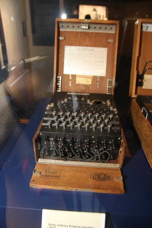 A WWII Enigma machine at Codebreaker: Alan Turing's Life and Legacy, a special exhibit at Science Museum, London.
