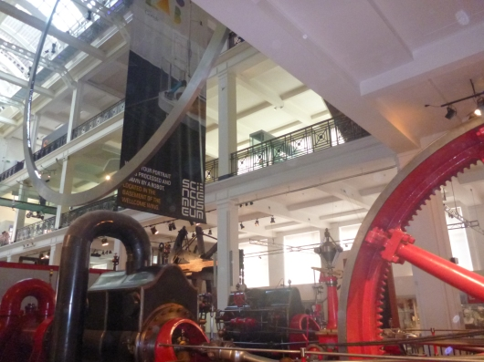 Wide view inside of the main gallery at Science Museum, London.