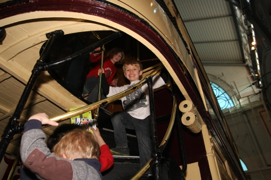 T loved going up and down the stairs of all the buses at the London Transport Museum.