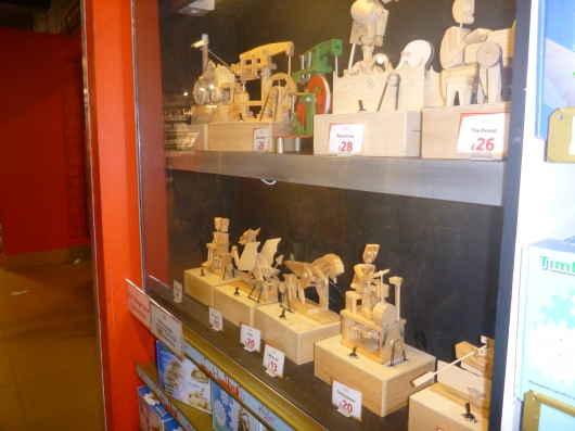 Wooden toy kits on sale at Hamleys in London.