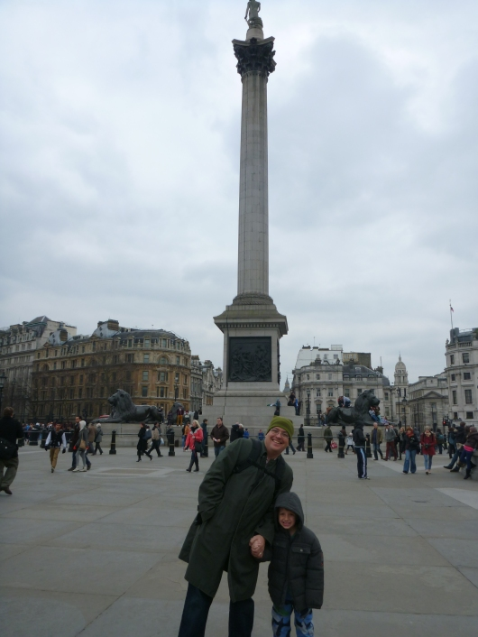 The boys in London's Trafalgar Square.
