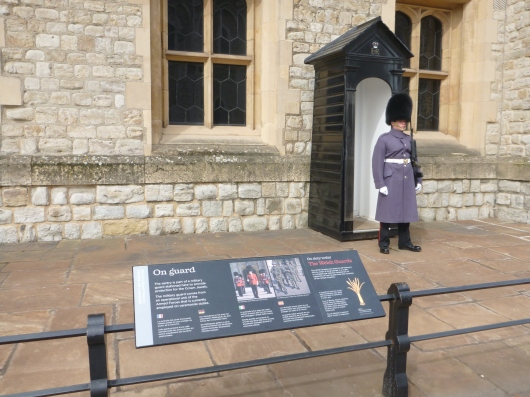 On guard outside of the Tower of London's Crown Jewels vault.