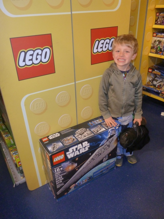 Hey, it's the 3,192-piece LEGO that I always tell T he most likely will never see in person let alone get! Well, at least T can say he got to see it in person. Where? At Hamleys in London, of course!